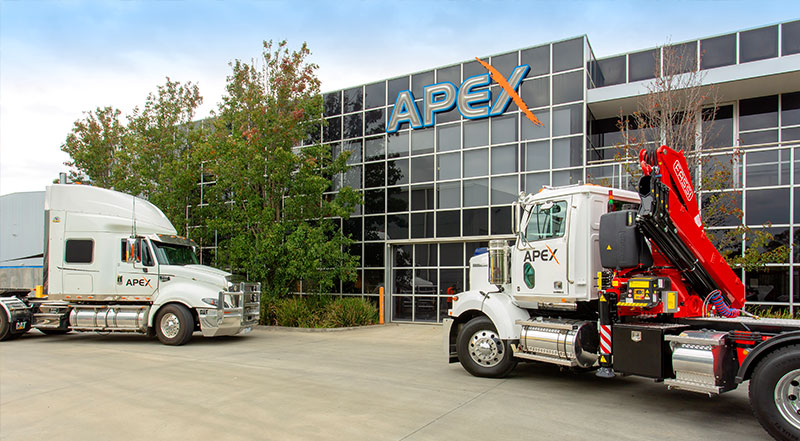 Apex Head Office with fleet trucks outside