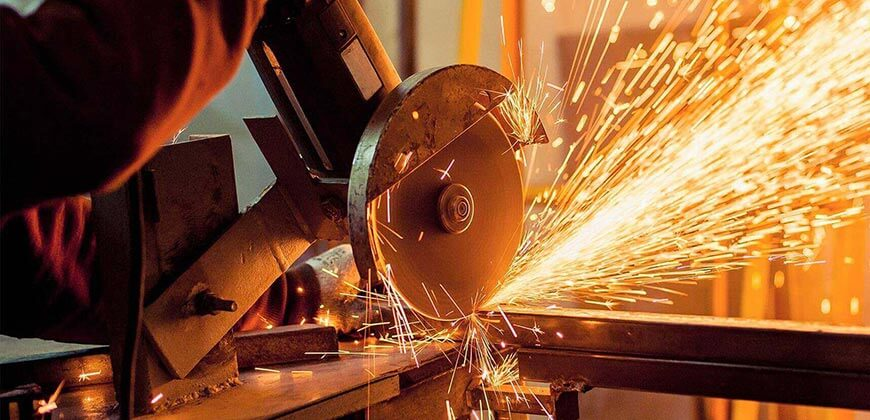 Cutting steel with sparks flying